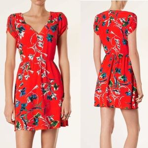 Topshop zebra floral tea dress in red